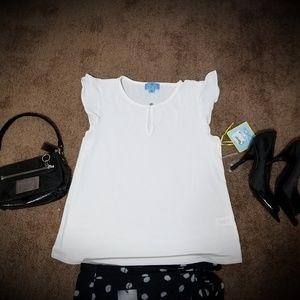 NWT Cece Ivory Dress Shirt Sz SM with extra button